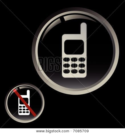 Cell phone button and forbidden calling sign