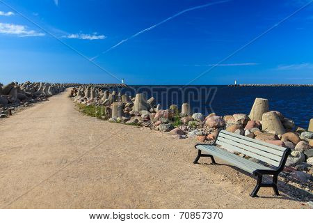 Bench On The Waterbreak Background