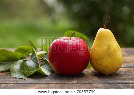 Fresh apple and pear, with water droplets on wooden table