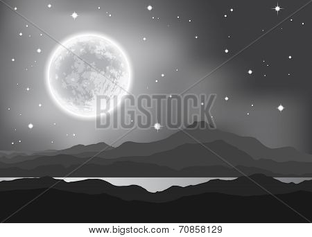Full Moon over mountains and lake. Night landscape. Vector illustration.
