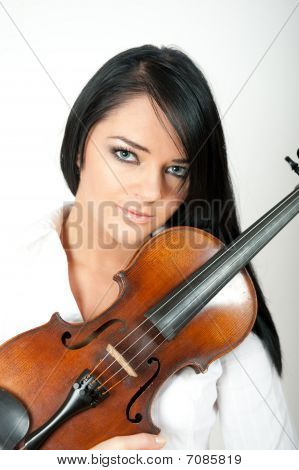 Beautiful woman with violin