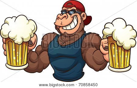 Cool cartoon gorilla holding mugs of beer. Vector clip art illustration with simple gradients. All in a single layer.