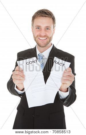 Happy Businessman Tearing Contract Paper