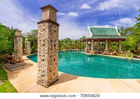 KOH KHO KHAO, THAILAND - 10 NOV 2012: Oriental architecture of Andaman Princess Resort & SPA. Hotel was destroyed by tsunami in 2004 and rebuild, Koh Kho Khao, Phang Nga in Thailand.