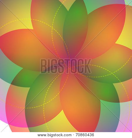 Background with bright geometric flower. Flow spectral light