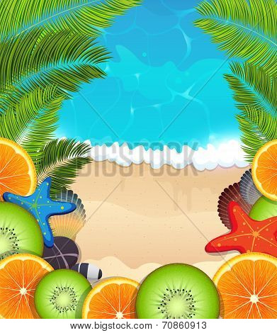 Tropical Fruits On Sea Background