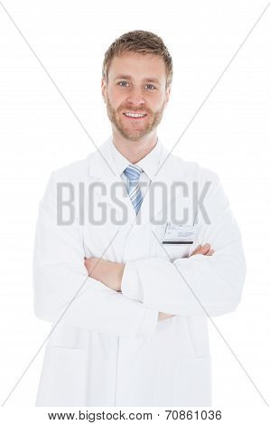 Confident Mid Adult Male Doctor With Stethoscope