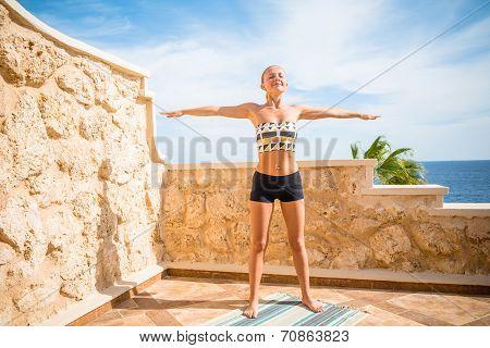 Beautiful woman practicing yoga