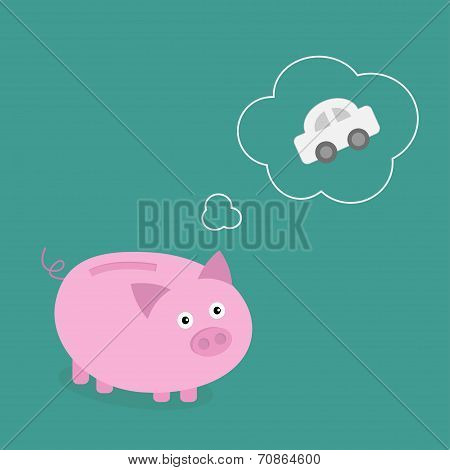 Piggy Bank Dream About The Car. Think Bubble Contour. Flat Design