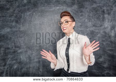 Scared Teacher In The Eyeglasses