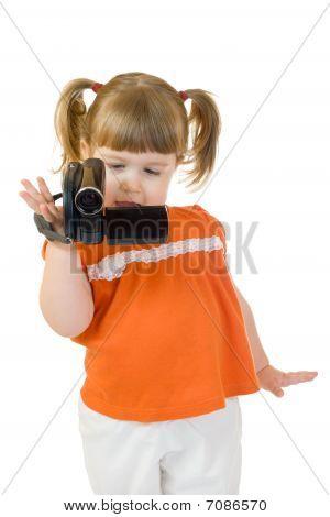 Menina bonitinha com Camcoder