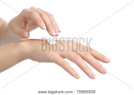 Woman Hands With Perfect Manicure Applying Moisturizer Cream