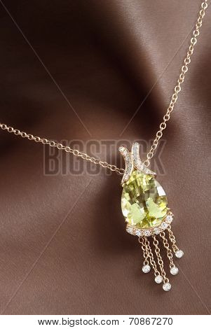 Citrine with Diamonds Pendant on Black Skin, Designer Jewellery