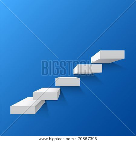 Blue abstract background with white stairs