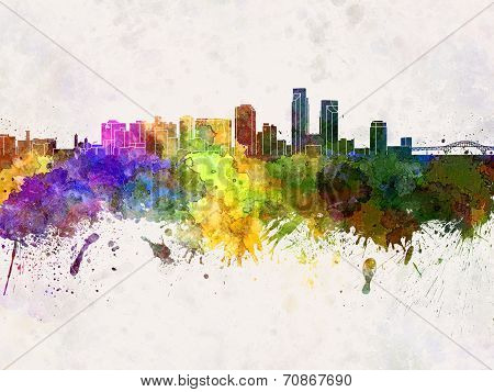 Corpus Christi Skyline In Watercolor Background