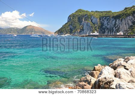 Picturesque summer landscape of beautiful beach in marina grande on capri island, Italy