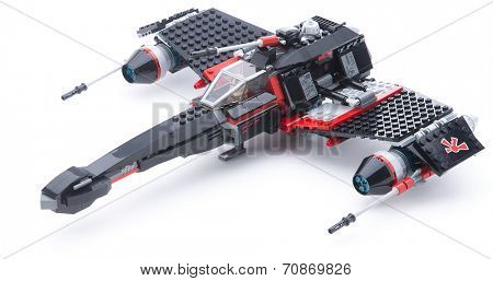 Ankara, Turkey - December 31, 2013: Lego Star Wars JEK-14s Stealth Starfighter with folding wings isolated on white background.