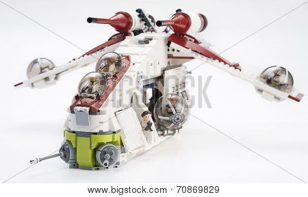 Ankara, Turkey - April 24, 2014: Lego Star Wars 75042 Droid Gunship isolated on white background