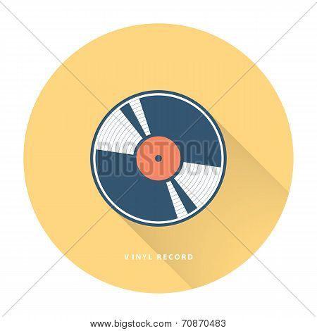 Vinyl record on yellow background. Flat vector illustration.