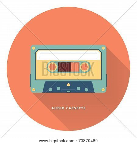 Audio cassette icon. Flat vector illustration.