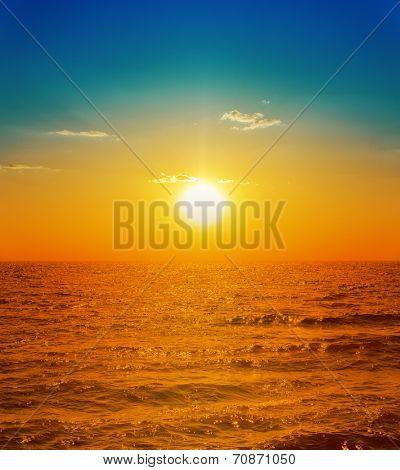 orange sunset over sea