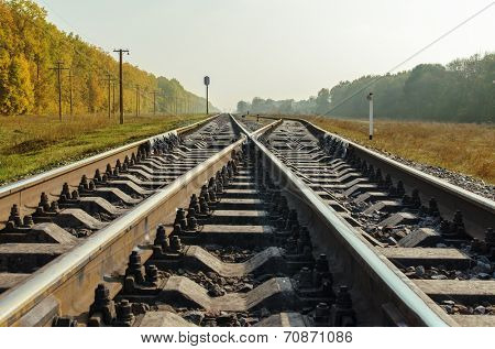 crossing of two railroad close up