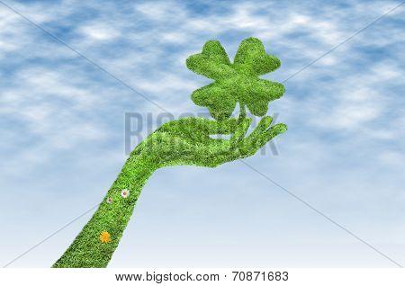 Hand With A Four-leaf Clover