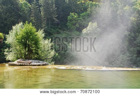 Water Vapour Rising From Jajce Waterfall