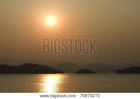 Sun Set At Dam