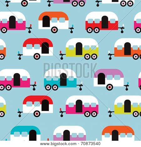 Seamless happy camper caravan retro illustration background pattern in vector