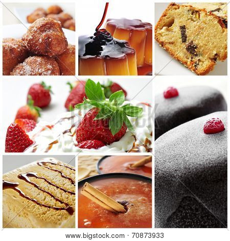 a collage of seven pictures of different international desserts