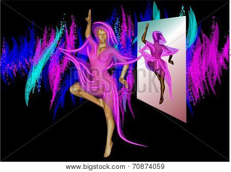 Abstract Dancer And Mirror