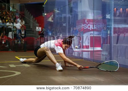 AUGUST 21, 2014 - KUALA LUMPUR, MALAYSIA: Nour El Tayeb of Egypt stretches to return in the CIMB Malaysian Open Squash Championship 2014 match held in Nu Sentral Mall.