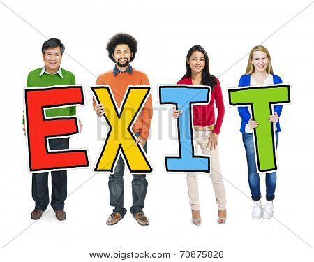 Multiethnic Group of People Holding Letter Exit
