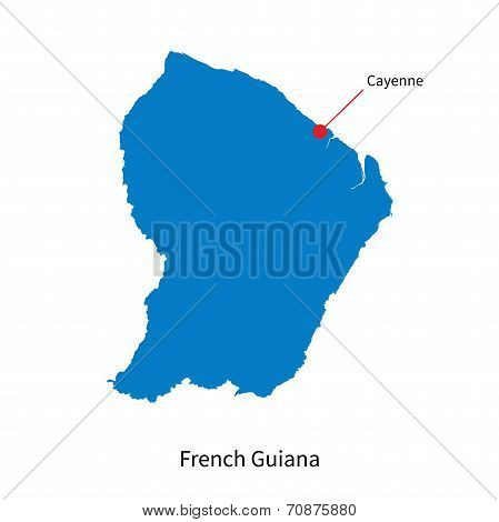 Detailed vector map of French Guiana and capital city Cayenne