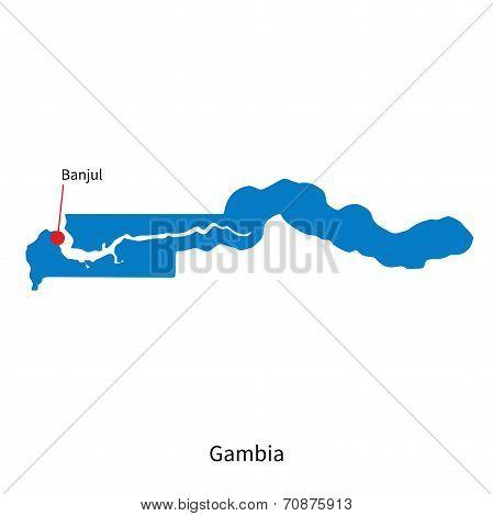 Detailed vector map of Gambia and capital city Banjul