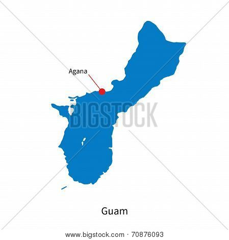 Detailed vector map of Guam and capital city Agana