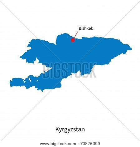 Detailed vector map of Kyrgyzstan and capital city Bishkek
