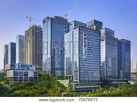 Modern office buildings newly built in Chongqing, China.  ATTN REVIEWER: See an Admin about this batch (re:case #01143506)