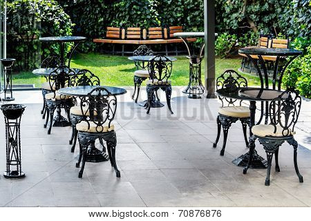 Terrace With Furniture In The Backyard