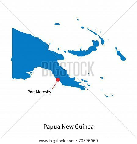 Detailed vector map of Papua New Guinea and capital city Port Moresby