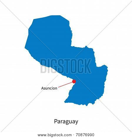 Detailed vector map of Paraguay and capital city Asuncion