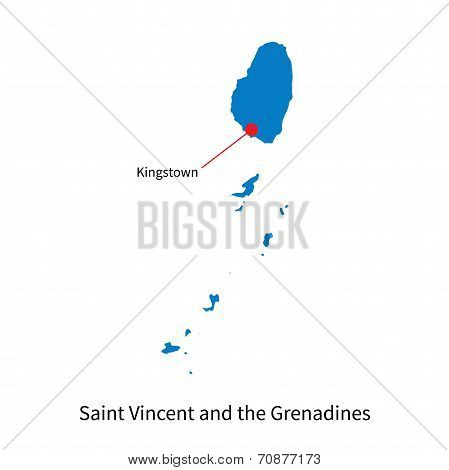 Detailed vector map of Saint Vincent and the Grenadines and capital city Kingstown