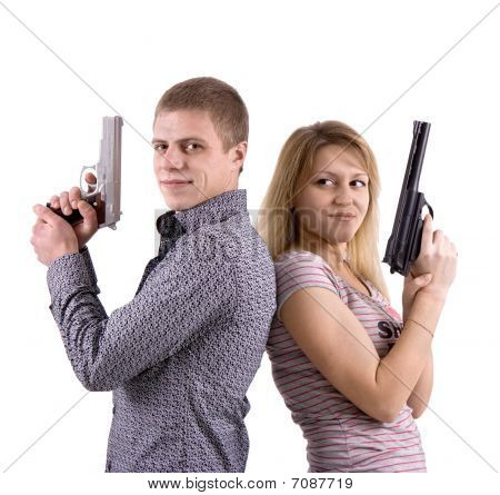 Man And Woman With Arms