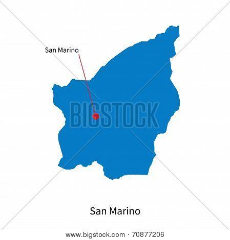 Detailed vector map of San Marino and capital city San Marino