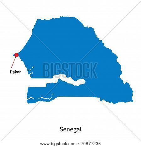 Detailed vector map of Senegal and capital city Dakar