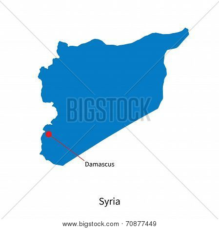 Detailed vector map of Syria and capital city Damascus