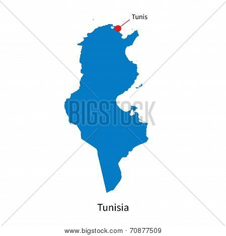 Detailed vector map of Tunisia and capital city Tunis