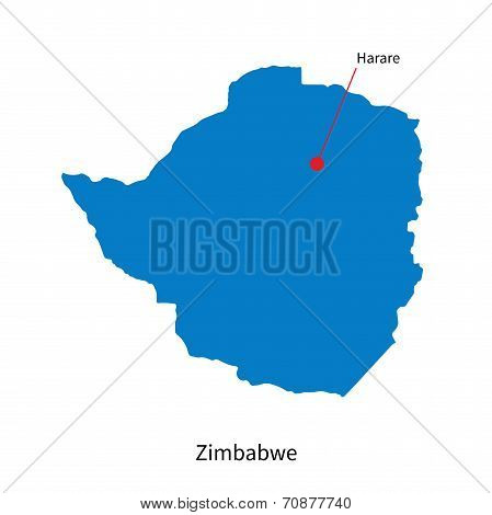 Detailed vector map of Zimbabwe and capital city Harare