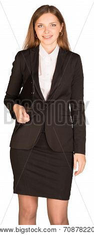 Businesswoman hold paper holder